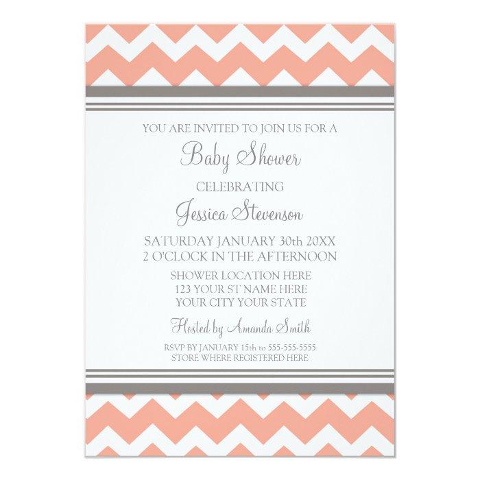 coral gray chevron custom baby shower invitations zazzle