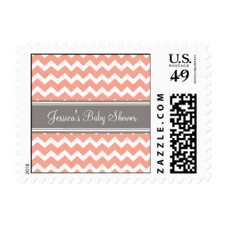 Coral Gray Chevron Custom Baby Shower Stamps