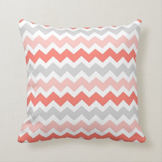 Coral Gray Chevron Decorative Pillow