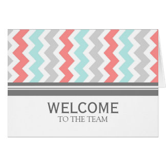 Coral Gray Chevron Employee Welcome to the Team Greeting Card