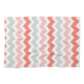 Coral Gray Chevron Kitchen Cloth Towel