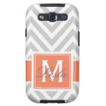 CORAL, GRAY CHEVRON PATTERN PERSONALIZED SAMSUNG GALAXY SIII COVER