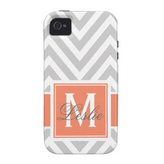 CORAL, GRAY CHEVRON PATTERN PERSONALIZED Case-Mate iPhone 4 COVER