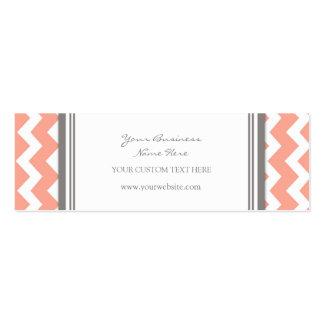 Coral Gray Chevron Retro Business Cards