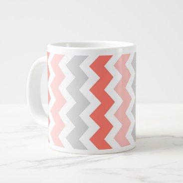 Coffee Themed Coral Gray Chevrons Jumbo Coffee Mug
