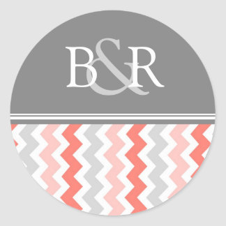 Coral Gray Chevrons Monogram Envelope Seal
