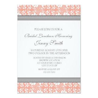 Coral Gray Damask Bridal Lunch Invitation Cards