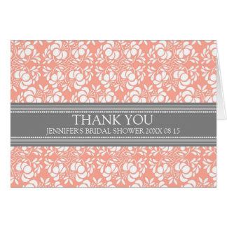 Coral Gray Damask Bridal Shower Thank You Card