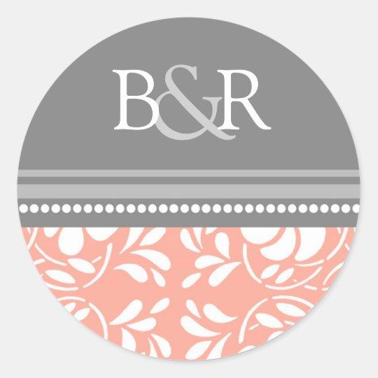 Coral Gray Damask Monogram Envelope Seal