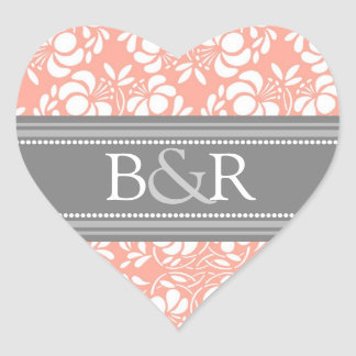Coral Gray Damask Monogram Envelope Seal
