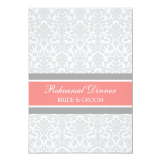 """Coral Gray Damask Rehearsal Dinner Party 5"""" X 7"""" Invitation Card"""