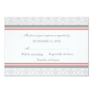 Coral Gray Damask RSVP Wedding Card