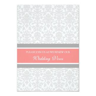 Coral Gray Damask Wedding Vow Renewal Invitations