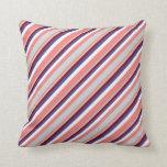 [ Thumbnail: Coral, Gray, Dark Red, Dark Slate Blue & White Throw Pillow ]