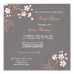 Coral Gray Floral Custom Baby Shower Invitations