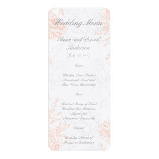 Coral Gray Floral Vintage Wedding Menu Card