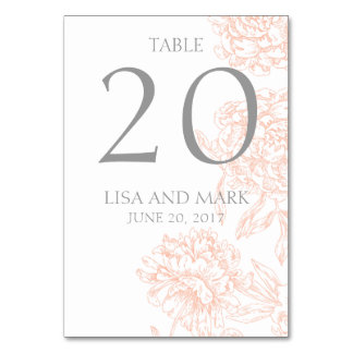 Coral Gray Floral Vintage Wedding Table Number
