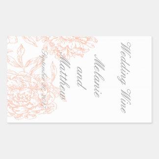Coral Gray Floral Vintage Wedding Wine Label Rectangular Sticker