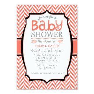 Coral Gray Herringbone Baby Shower Invitations