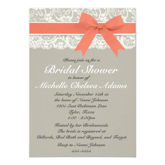 Coral Gray Lace Bridal Shower Invitation