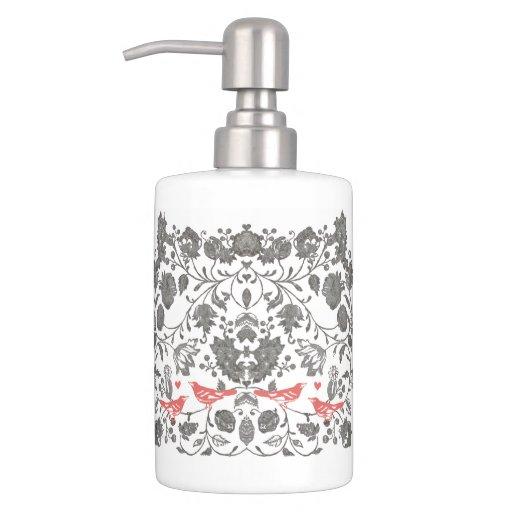Coral gray love bird woodland creature pattern bath for Gray bathroom accessories set
