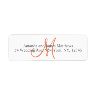 Coral Gray Monogram for Weddings Label