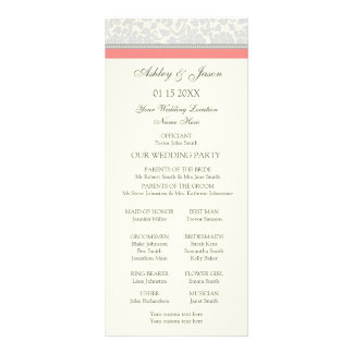 Coral Gray Off White Damask Wedding Program