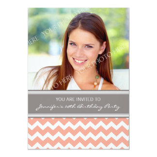 Coral Gray Photo 20th Birthday Party Invitations