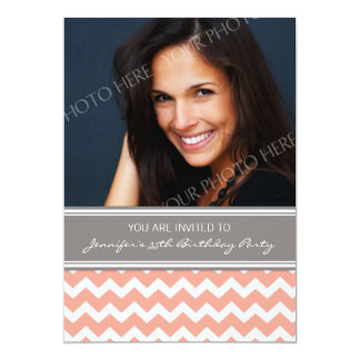 Coral Gray Photo 35th Birthday Party Invitations