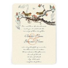 Coral & Gray Vintage Birds Wedding Invite