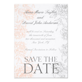 Coral Gray Vintage Floral Save The Date 4.5x6.25 Paper Invitation Card