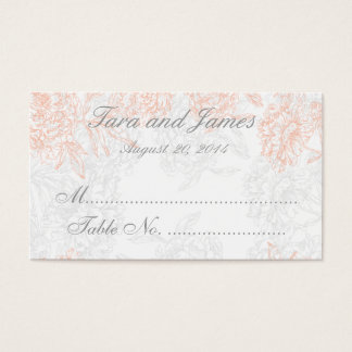 Coral Gray Vintage Floral Wedding Escort Card