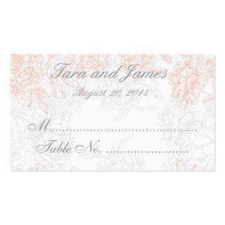 Coral Gray Vintage Floral Wedding Escort Card Business Cards