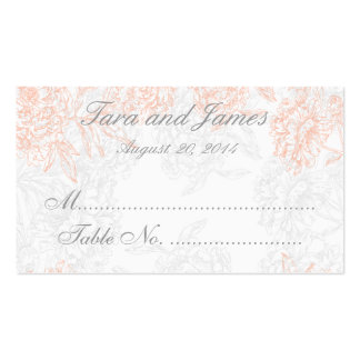 Coral Gray Vintage Floral Wedding Escort Card Double-Sided Standard Business Cards (Pack Of 100)