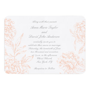 Coral Gray Vintage Floral Wedding Invitation 5