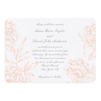 Coral Gray Vintage Floral Wedding Invitation