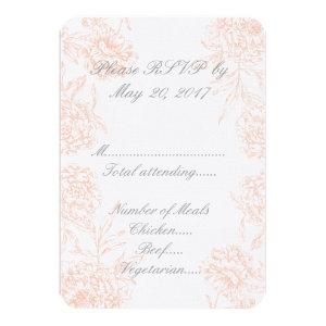 Coral Gray Vintage Floral Wedding RSVP 3.5x5 Paper Invitation Card