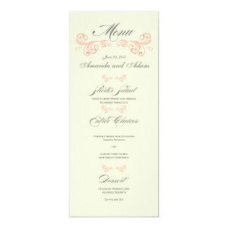 Coral Gray Vintage Swirls Wedding Menu 4x9.25 Paper Invitation Card