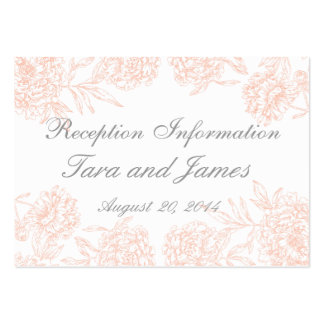 Coral Gray Vintage Wedding Reception Insert Card Large Business Card