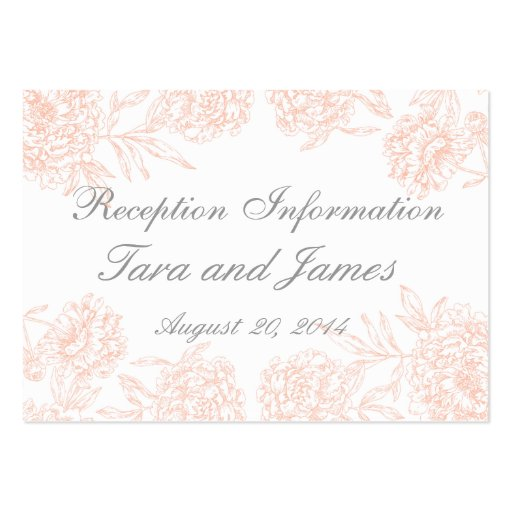 Coral Gray Vintage Wedding Reception Insert Card Large Business Cards Pack Of 100