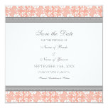 """Coral Gray Wedding Save the Date Card 5.25"""" Square Invitation Card"""