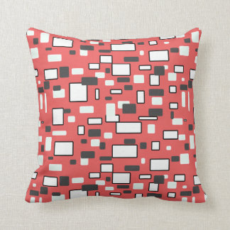 Coral gray white geometric pattern throw pillow