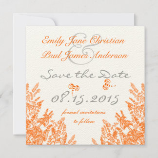 Coral & Gray Wild Flower Bee Wedding Save the Date