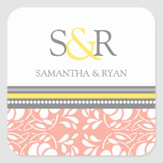 Coral Gray Yellow Monogram Envelope Seal Square Sticker