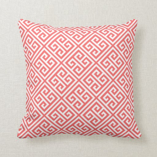 Coral Greek Key Pattern Throw Pillow Zazzle