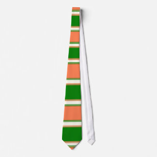 Coral Green and Ivory Horizontally-Striped Neck Tie