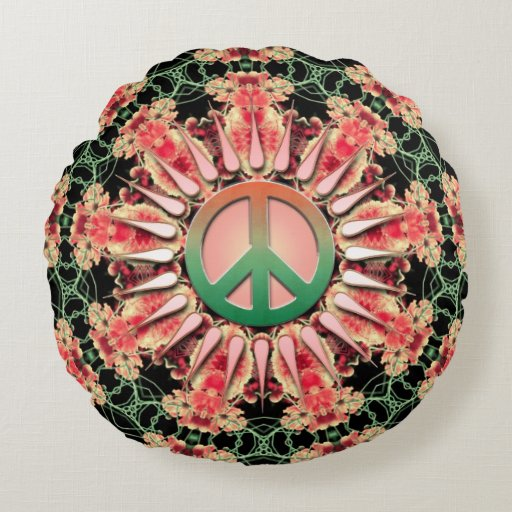 Coral Green Flower Circle of Peace Round Cushion