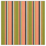 [ Thumbnail: Coral, Green, Lavender & Black Colored Lines Fabric ]