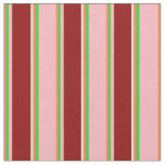 [ Thumbnail: Coral, Green, Light Pink, Dark Red & Mint Cream Fabric ]