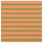 [ Thumbnail: Coral & Green Lines/Stripes Pattern Fabric ]